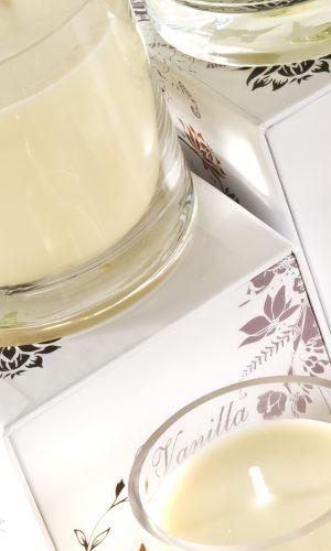 Vanille Glas Kerzen Serie